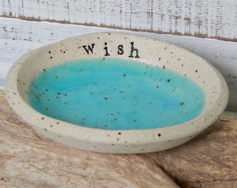 WISH - candle bowl - Jewelry Dish- Ring Holder- food prep- salt cellar- candle dish- trinket dish - flower bowl- small bowl-shower-turquoise