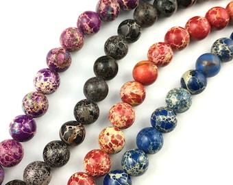 Natural Impression Jasper Beads, Jasper Gemstone Beads, Blue, Purple, Red, Brown Stone Beads, Round Beads Wholesale 8mm 10mm 15''