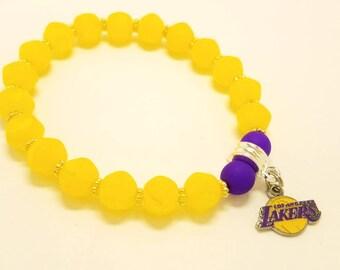 LA Lakers charm bracelet / Lakers charm bracelet / LA Lakers fan bracelet / Woman's beaded bracelet / Beaded bracelet / Elastic / Gift