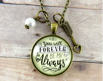 You Will Forever By My Always Love Necklace Gift Idea for Wife, Girlfriend, Fiance, Love Quote Jewelry Anniversary Birthday Gift