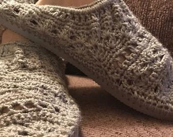 Slippers Womens Crochet Gray Slip On Shoes