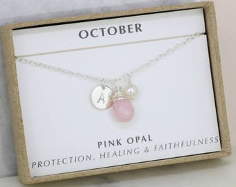 October birthstone necklace, pink opal necklace personalised, initial necklace for October birthday - Ella