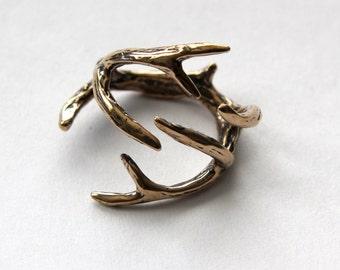 Deer Antler Ring Bronze  Antler Ring 075