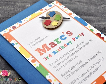 Art Party Invitations · A6 FLAT · Primary Blue · Birthday Party | Painting Party | Artist | Paint Palette