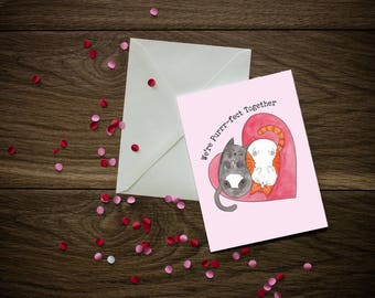 Valentine's Day Cards - Cat Puns - Cute Cats - 5x7 in with A7 White Envelope