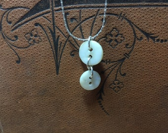 SALE! Two tiny mother of pearl buttons necklace