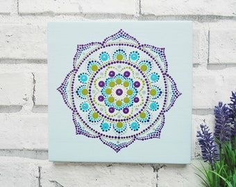 Dot art mandala painting - Pale blue wall decor - Spiritual art - spiritual wall decor - Purple mandala - Painting on wood - mandala art