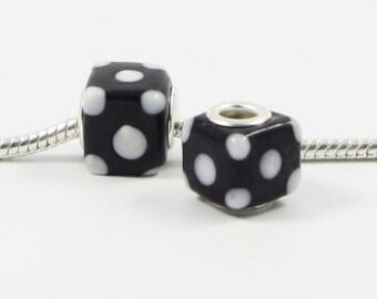 3 Beads - Black w White Dots Cube Lampwork Glass Silver European Bead Charm E0380