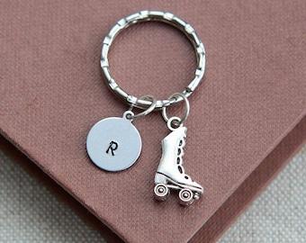 SALE, Rollerblade Keychain, Rollerblade Keyring, Roller Skating Keychain, Roller Skates Keychain, Initial Keychain, Christmas Gift for Girl