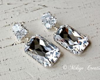 Wedding Chandelier Swarovski Crystal Cubic Zirconia Drop Earrings, Wedding Jewelry, Bridal -Cassandra