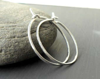 Small Silver Hoop Earrings, Hammered Sterling Silver, Thin Wire Hoops, 3/4 inches