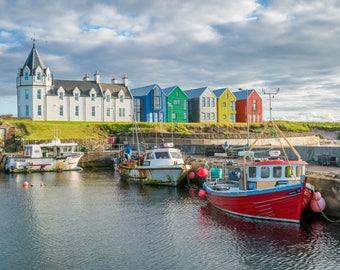 Scotland Photography Print, John o' Groats, Caithness, Orkney Islands, Scottish Highlands, harbour, landscape, ferry, lighthouse