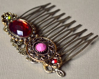 Comb vintage red & pink cabochon
