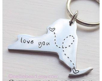 Long Distance Relationship Keychain - State Keychain - New York State Keychain, NY
