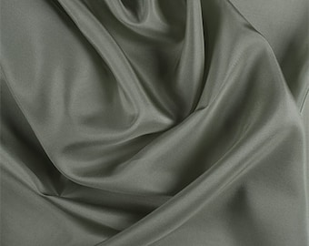 Dark Sage Silk Habotai, Fabric By The Yard