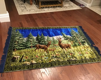 LARGE Velvet like Rug stag elk deer tapestry  vintage huge with blue fringe edge