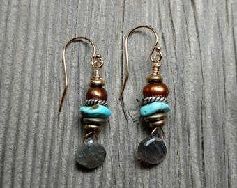 Handcrafted Pearl, Labradorite & Turquoise Earrings