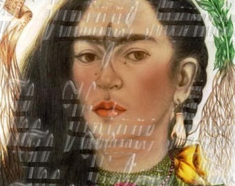 Crafts Fabric Block Vintage Frida Kahlo Drawing Mexico Famous Artist Sewing Applique FK105