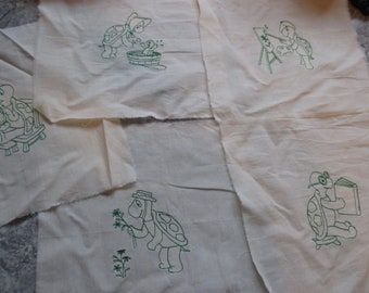 set of 5 Turtles embroidered quilt blocks