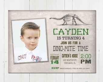 Printable Dinosaur Invitation, Dinosaur Birthday Invitation, Dinosaur Photo Invitation, Rustic, Vintage, Dinosaur printable invitation