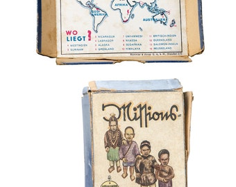Antique German playing card game in box Missions