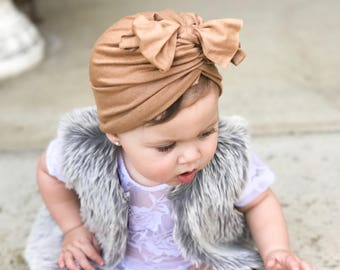 Dark tan, baby turban, baby hat, infant hat