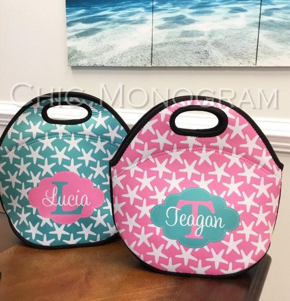 Small Gift Ideas For Teachers Insulated Lunch Bag Personalized Lunch Box Lunch Tote Personalized Lunchbox Custom Monogram Nautical Beachy