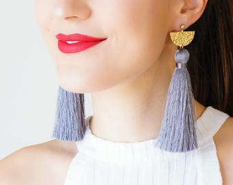 Tassel Earrings Statement Jewelry Gold Earrings Hammered Brass Earrings Long Earrings Dangle Earrings Gray Earrings Boho Earrings/  CHASSIO