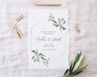 Printable Save the Dates | Save the Date | Greenery Save the Date | Calligraphy Save the Dates | Printable Wedding Announcement