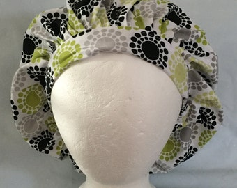 Polka Dot Flower Themed Bouffant Style Scrub Hat