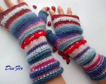 Women Size M 20% OFF Ready To Ship OOAK Bohemian Boho Fingerless Gloves Mittens Striped Warm Wrist Warmers Hand Knitted Winter Arm Wool 1105
