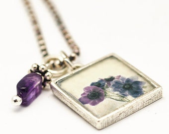 Purple Flower Necklace | Vintage Floral Pendant | Sterling Silver Necklace | Classic Jewelry | Square Pendant Necklace | Dainty Accessory