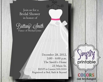 Wedding Dress Bridal Shower Invitation (Printable Digital File)