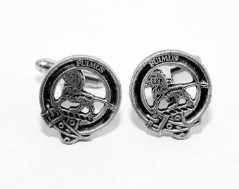 Scottish Clan Bruce Crest Cufflinks, English Pewter, Handmade, Gift Boxed H