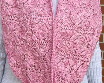 Knit Cowl Pattern:  Vinco Lace Flower Cowl/Infinity Scarf Knitting Pattern