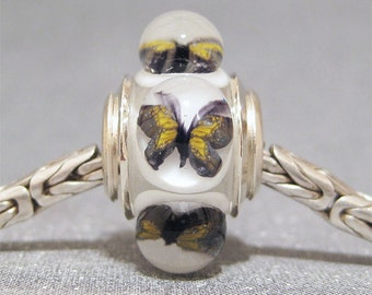 Butterfly Bead Handmade Lampwork Euro Charm Limited Edition Topaz Butterflies