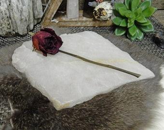Rose Quartz Platter  - Thick Pink Slab - Table Setting - Home Decor & Spiritual Gift - So Pretty (RK300-49)