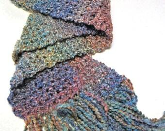 Multi Color Scarf, Extra Long, Oversize, 116 x 6, Granite, Handmade, Crochet, Chunky, Steampunk, Bohemian, Trending, Mans, Womans, Winter