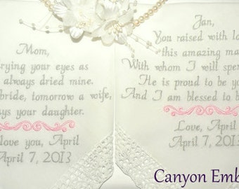 Embroidered Wedding Hankerchief Set of two Mom & Mother In Law by Canyon Embroidery