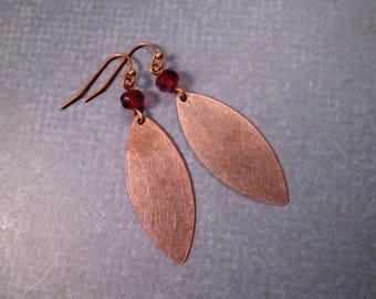 Copper Petal Earrings, Red Glass Beaded, Rustic Dangle Earrings, FREE Shipping U.S.