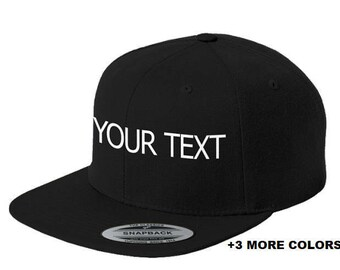 CUSTOM TEXT Flat Bill Snapback Cap | Custom Embroidered Hat, Custom Snapback, Personalized Hat, Personalized Snapback Hat, Your Text Here