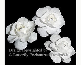 Wedding Hair Accessories, Bridal White Hair Flowers, Bridal Hair Pins - Rhinestone Centers