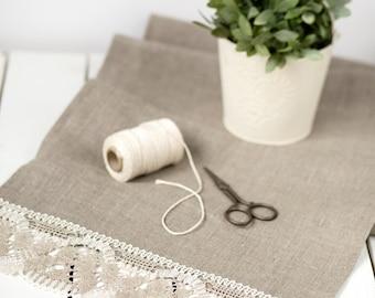 Linen runner - Rustic wedding linen lace runner - Burlap runner