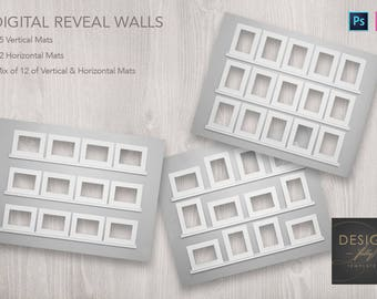 3 Reveal Wall Templates, Horizontal - Vertical and Mixed Mats - Adobe Photoshop CS3 and Up