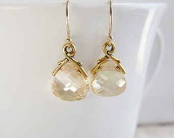 Gold earrings, Swarovski Crystal earrings, gold branch setting, champagne bridesmaid earrings, gold filled ear wires