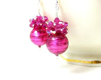 Fuchsia Earrings, Pink Murano Earrings, Crystal Earrings, Pink Glass Earrings, Holiday Jewelry, Dangle Earrings, Murano Jewelry - Gum Drops