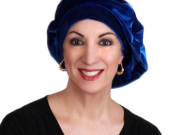 Blue Velvet Beret, French Beret, Large Beret, Slouchy Hat, Indigo,Chemo Hat, Alopecia Hat, Boho