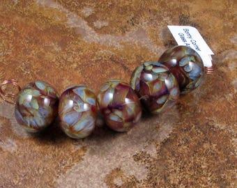 5 Boro Round Beads - Amber Purple