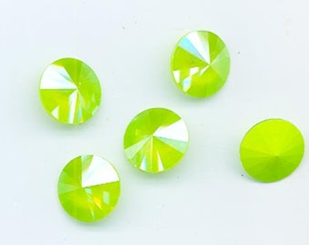 Four Swarovski Lacquer Pro rivoli crystals - Art. 1122 - 12 mm - lime