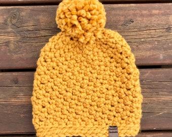 Seed stitch crochet beanie